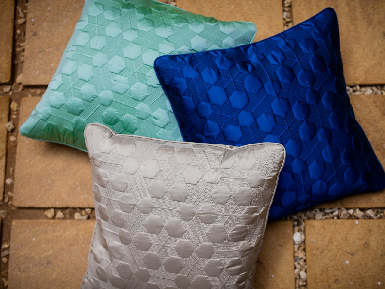 Silk embroidered cushions with traditional Jeddah patterns