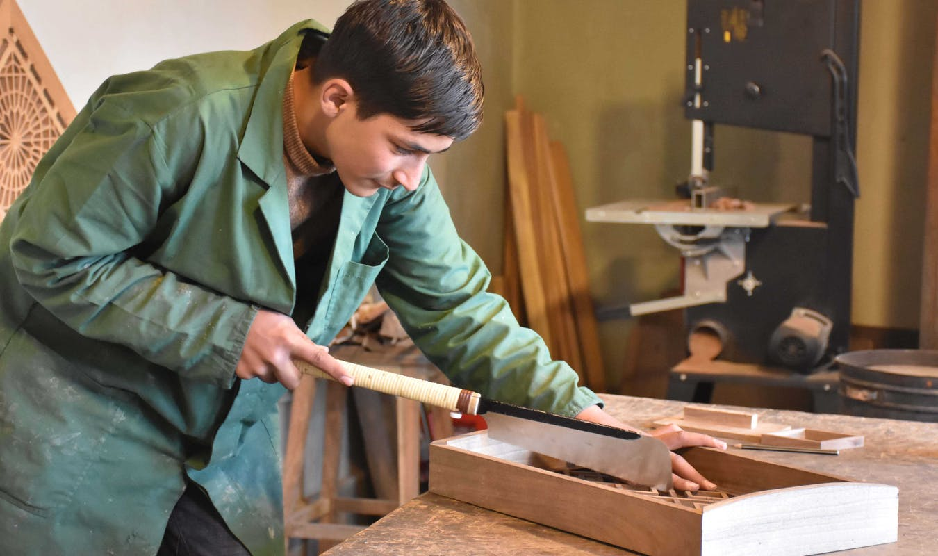 Woodcarving student